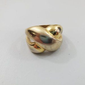 18K GE Gold Ring Size 8 Weave Braid Knot X Electro